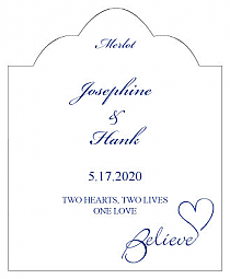 Believe Swirly Scalloped Vertical Big Rectangle Wedding Labels