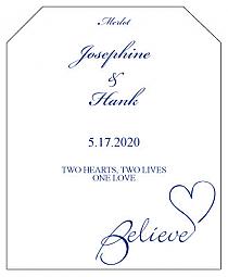 Believe Swirly Wine Wedding Label