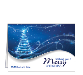Personalized unique business christmas cards and corporate holiday blue swirl christmas tree card 7875 x 550 with envelope business style reheart Gallery
