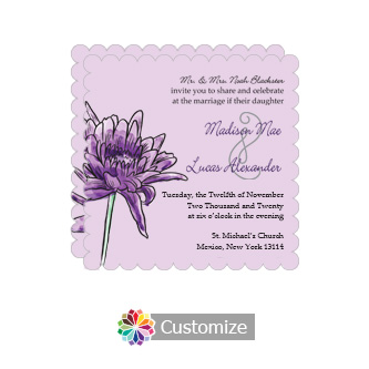 Scalloped Floral Lovely Lavender Square Wedding Invitation 5.875 x 5.875