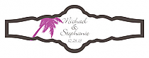 Caribbean Beach Fancy Cigar Band Wedding Labels