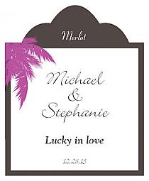 Caribbean Beach Scalloped Vertical Big Rectangle Wedding Labels