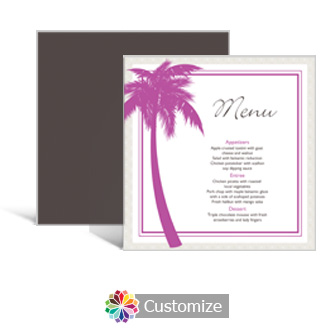 Caribbean Beach 5.875 x 5.875 Square Wedding Menu