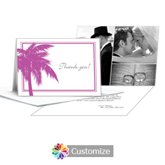 Caribbean Beach Wedding Thank You Card With Photo and Custom Greeting