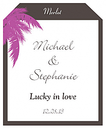 Caribbean Beach Wine Wedding Label