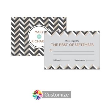 Chalkboard Chevron 5 x 3.5 RSVP Enclosure Card - Reception
