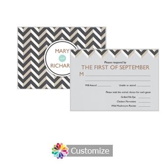 Chalkboard Chevron 5 x 3.5 RSVP Enclosure Card - Dinner Choice