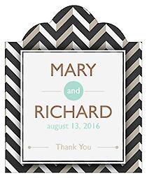 Chalkboard Chevron Scalloped Vertical Big Rectangle Wedding Labels
