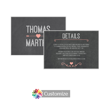 Hearts of Love Chalkboard Style 5 x 3.5 Details Enclosure Card