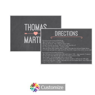 Hearts of Love Chalkboard Style 5 x 3.5 Directions Enclosure Card