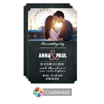Elegant Romantic Photo Chalkboard Style Flat Wedding Invitation Card 5 x 7.875