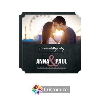 Elegant Romantic Photo Chalkboard Style Flat Square Wedding Invitation 5.875 x 5.875