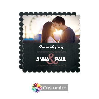Scalloped Romantic Photo Chalkboard Style Flat Square Wedding Invitation 5.875 x 5.875