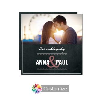 Romantic Photo Chalkboard Style Flat Square Wedding Invitation 5.875 x 5.875