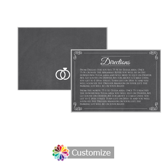 Rings of Love Chalkboard 5 x 3.5 Directions Enclosure Card