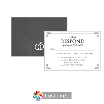 Rings of Love Chalkboard 5 x 3.5 RSVP Enclosure Card - Dinner Choice