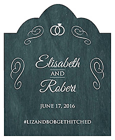 Chalkboard Rings Scalloped Vertical Big Rectangle Wedding Labels