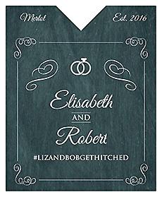 Chalkboard Rings Wine Wedding Label 3.25x4