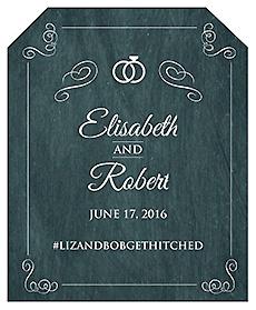 Chalkboard Rings Wine Wedding Label