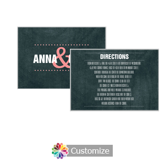 Romantic Photo Chalkboard 5 x 3.5 Directions Enclosure Card
