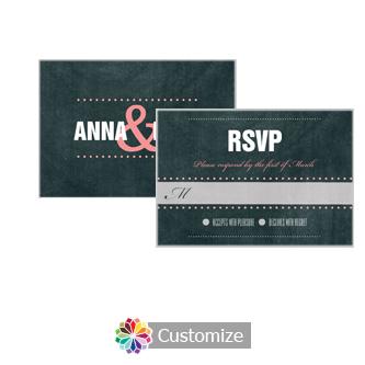 Romantic Photo Chalkboard 5 x 3.5 RSVP Enclosure Card - Reception
