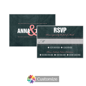 Romantic Photo Chalkboard 5 x 3.5 RSVP Enclosure Card - Dinner Choice
