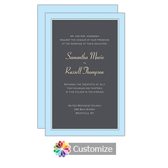 Slate Classical 5 x 7.875 Flat Card Wedding Invitation