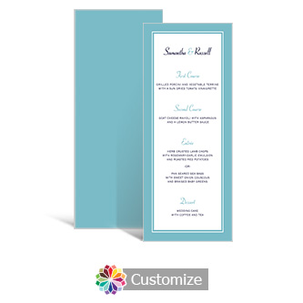 Classical 3.625 x 8.875 Tea-Length Wedding Menu