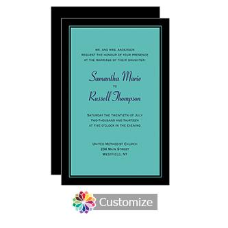 Teal Classical 5 x 7.875 Flat Card Wedding Invitation