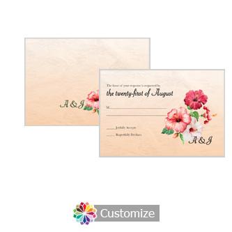 Floral Coralbell Lace 5 x 3.5 RSVP Enclosure Card - Reception