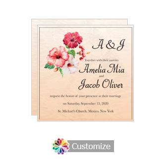 Floral Coralbell Lace Square Wedding Invitation 5.875 x 5.875