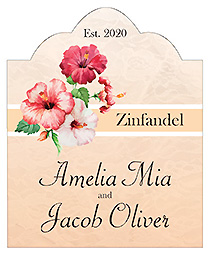 Coralbell Lace Scalloped Vertical Big Rectangle Wedding Label