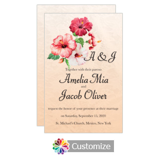 Floral Coralbell Lace Wedding Invitation Card 5 x 7.875