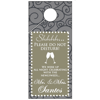 Custom Color Swirl Pattern Wedding Door Hanger 4x9