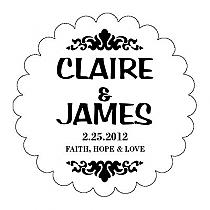 Paisley Scalloped Circle Wedding Labels