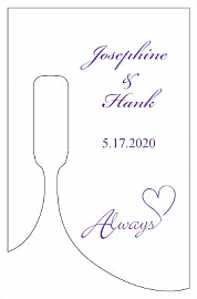 Customized Always Swirly Bottom's Up Rectangle Wine Wedding Label