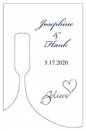 Believe Swirly Small Bottoms Up Rectangle Wine Wedding Label