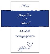 Customized Believe Swirly Rectangle Wine Wedding Label 3.5x3.75