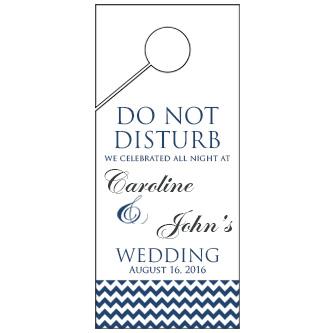 Customised Blue Bottom Chevron Wedding Door Hanger 4x9