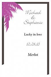 Caribbean Beach Small Bottoms Up Rectangle Wine Wedding Label 2.25x3.5