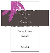 Customized Caribbean Beach Rectangle Wine Wedding Label 3.5x3.75