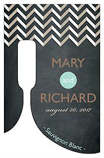 Customized Chalkboard Chevron Bottom's Up Rectangle Wine Wedding Label