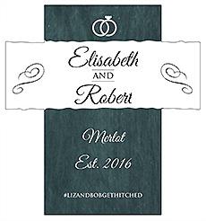 Customized Chalkboard Rings Rectangle Wine Wedding Label 3.5x3.75