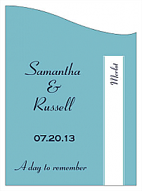 Customized Classic Curved Rectangle Wine Wedding Label