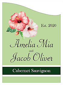 Customized Coralbell Lace Curved Rectangle Wine Wedding Label