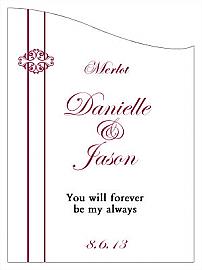 Customized Decor Curved Rectangle Wine Wedding Label