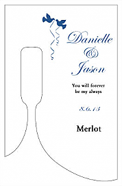 Doves Small Bottoms Up Rectangle Wine Wedding Label