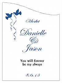 Customized Doves Curved Rectangle Wine Wedding Label
