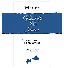 Customized Doves Rectangle Wine Wedding Label 3.5x3.75