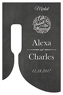 Customized Eat Drink be Married Chalkboard Bottom's Up Rectangle Wine Wedding Label